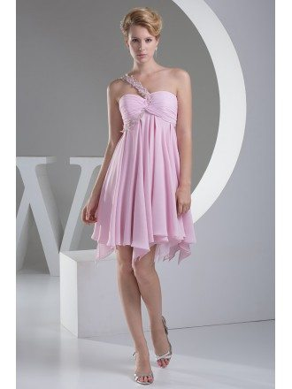 A-line One-shoulder Short Chiffon Homecoming Dress With Beading