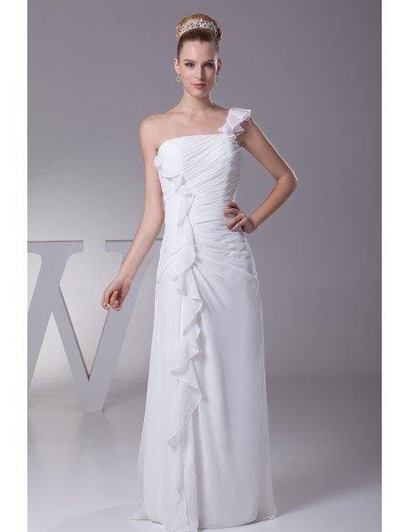Simple Ruffled One Shoulder Chiffon Long Bridal Dress with Split Front