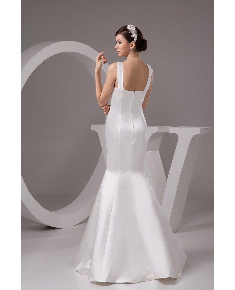 Satin Mermaid Wedding Gown: Mermaid V-neck Floor-length Satin Wedding Dress #OP4765