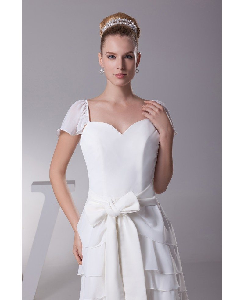 Wedding Gowns With Cap Sleeves: Sweetheart Layered Sash White Bridal Dress With Cap