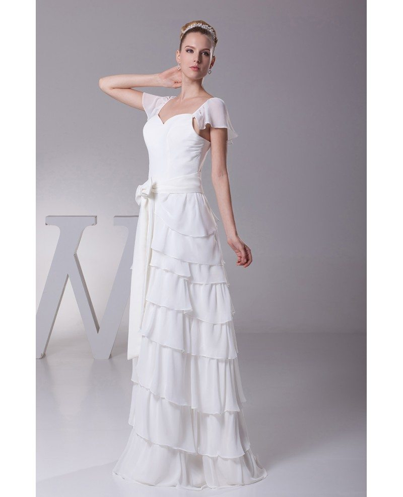 Wedding Gowns With Sashes: Sweetheart Layered Sash White Bridal Dress With Cap