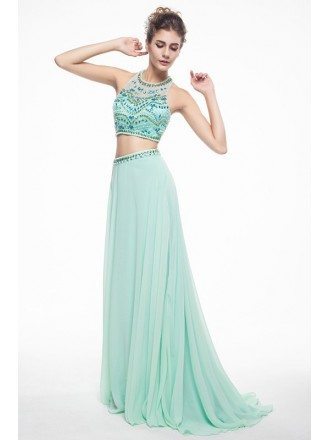 Pool Two-Pieces Halter Chiffon Prom Dress With Beading