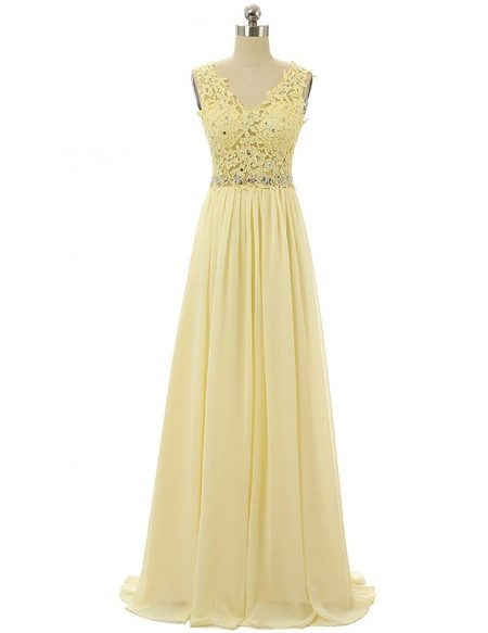A-line V-neck Sweep-train Prom Dress with Lace Beading