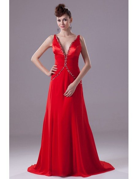 Deep V Beaded Red Ruffled Train Formal Dress with Unique Back