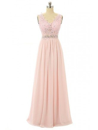 Candy-pink A-line V-neck Sweep-train Prom Dress with Lace Beading