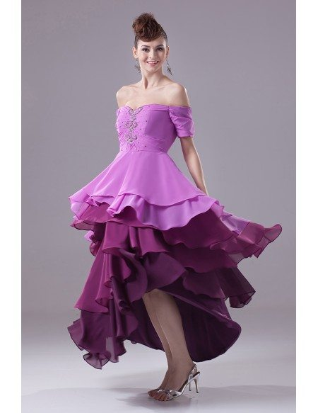 High Low Sweetheart Layered Beaded Sleeves Bridal Party Dress with Three Purple Colors