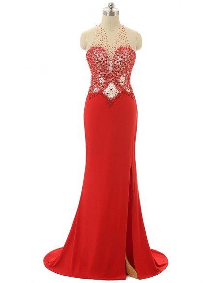 Mermaid Halter Sweep-train Asymmetrical Prom Dress with Beading