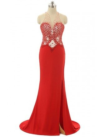 Mermaid Halter Sweep-train Asymmetrical Prom Dress with Beading