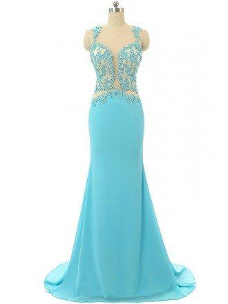Mermaid Sweet-heart Sweep-train Prom Dress with Beading