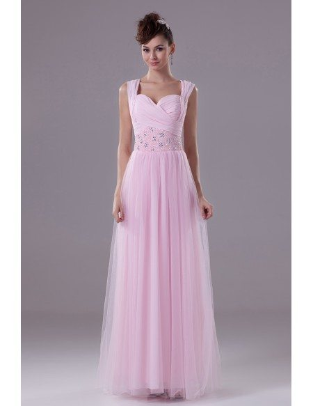 Lovely Pink Long Tulle Ruffled Prom Dress with Beading Waist