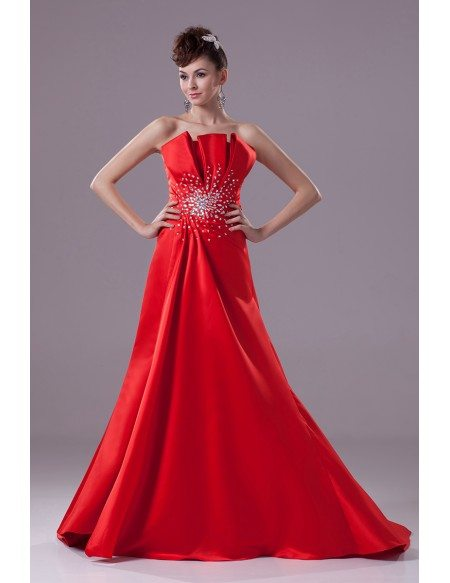 Hot Red Satin Scalloped Edges Neckline Bridal Gown for Spring Wedding