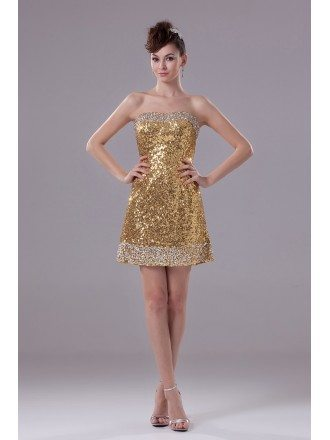Sexy Strapless Short Cocktail Gold Sequined Party Dress with Sliver Beading