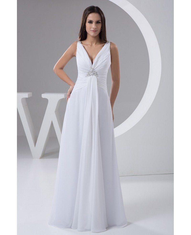 A Line V Neck Floor Length Chiffon Wedding Dress With Beading