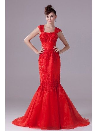 Cap Strap Mermaid Style Beaded Lace Organza Wedding Dress in Red Color