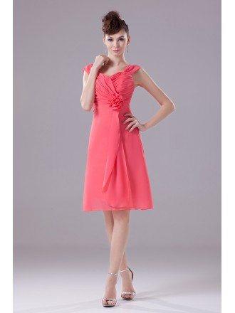 Knee Length Folded Fuchsia Bridesmaid Dress with Sweetheart Neckline
