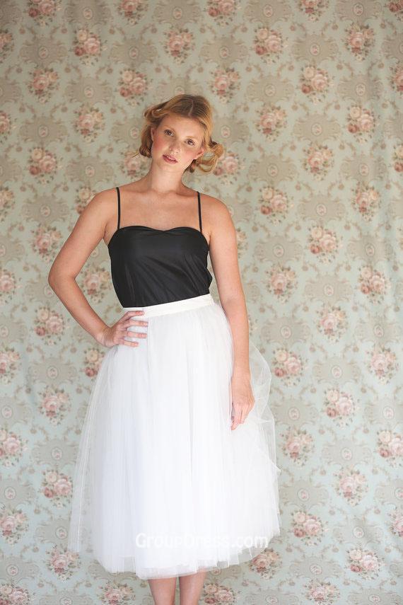 Tea-length Wedding Dress with Color