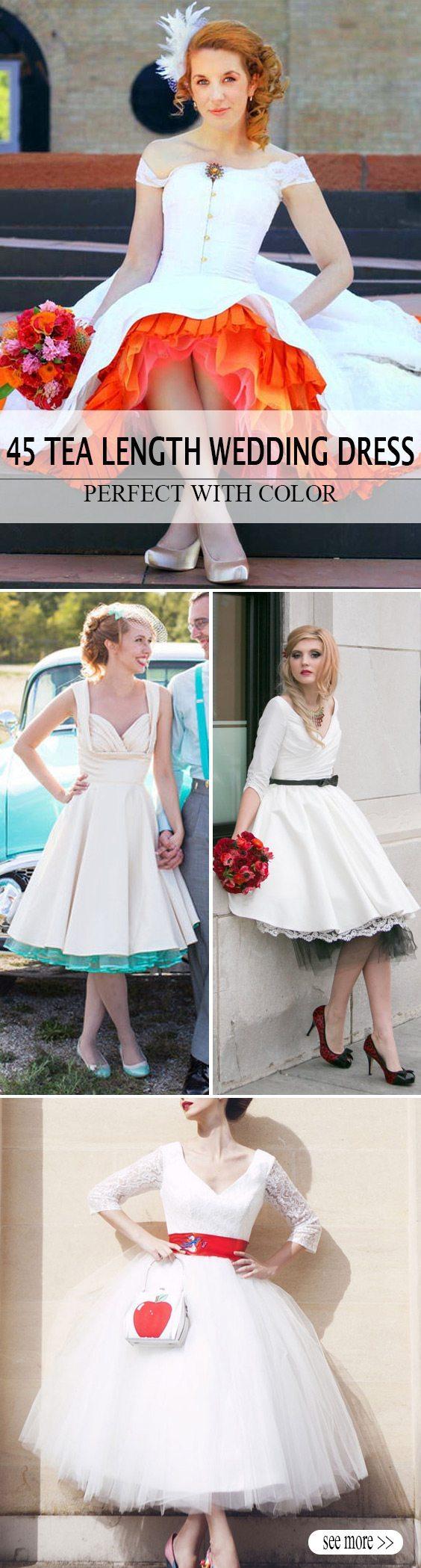 color tea length wedding dress