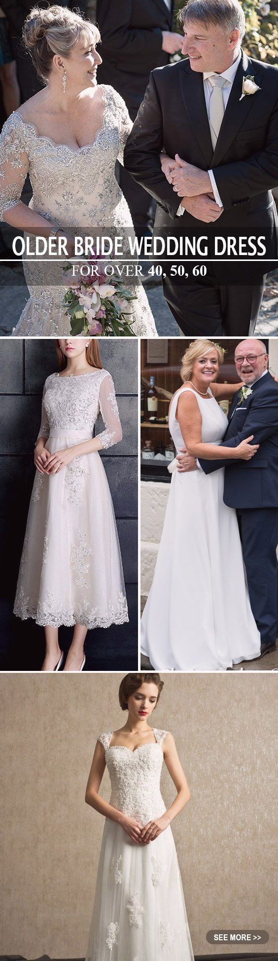 Wedding Dresses for Older Brides over 40, 50, 60, 70