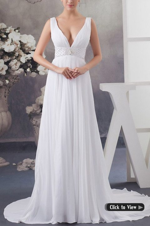wedding dress with short train