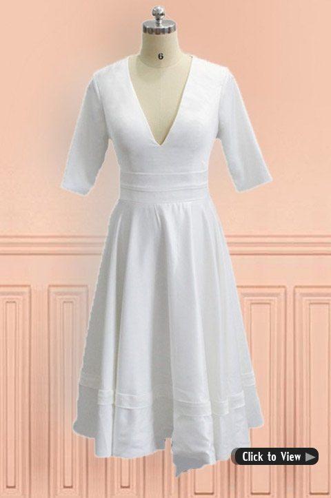 Faironline Women S Half Sleeve Tea Length Lace Wedding Dress Plus