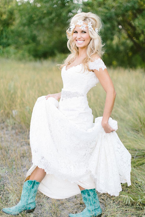 Western Wedding Dress with Boots